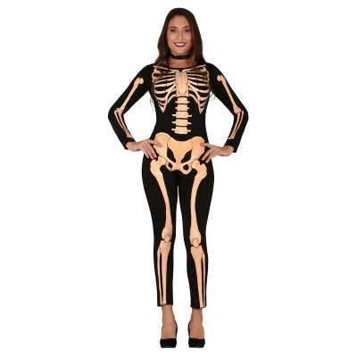 Zwart/oranje skelet verkleed feest outfit dames