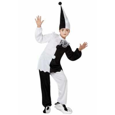 Zwart wit pierrot clown feest outfit
