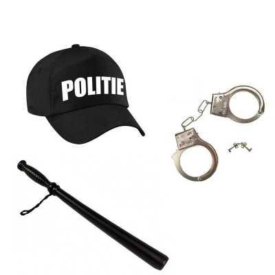 Zwarte politie agent verkleed pet gummiknuppel handboeien