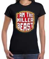 Halloween killer beast verkleed t-shirt zwart dames