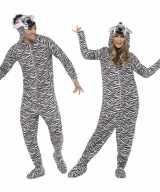 Jumpsuit zebra all one volwassenen